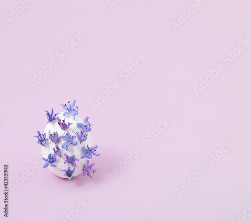Obraz Creative layout with white egg and wild violet flowers. Minimal Easter concept. - fototapety do salonu