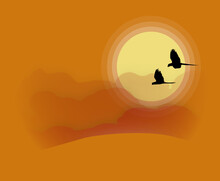 Macaws At Sunset