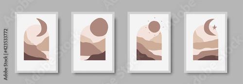 Fototapeta Abstract landscape wall art print set. Vector abstract landspace for luxury minimal bedroom interior. Printable boho poster for decor. Artwork with terracotta colors for wallpaper. Vector illustration obraz na płótnie