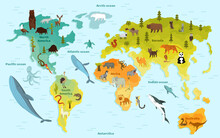 World Map With Different Animal. Funny Cartoon Banner For Children With The Continents, Oceans And Lot Of Funny Animals. Materials For Kids Preschool Education