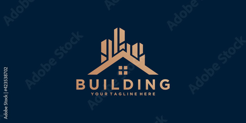 Papel de parede building logo design template with gold color