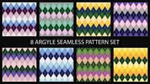 Argyle Seamless Pattern Set. Textile Colorful Backgrounds. For Print And Web. Vector