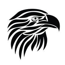 Beautiful Eagle Head Or Face Tattoo Element. Eagle Or Hawk Vector Illustration. Close Up