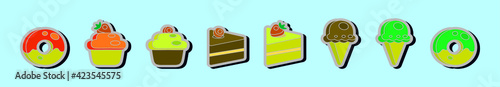 Fotografie, Obraz set of cake and ice cream cartoon design template with various models