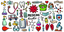 Hand Drawn Doodles, Isolated Vector Objects On White Background. Healthcare And Medicine Colored Vector Illustration.