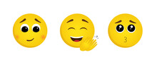 Set Of Emoticons With Positive Emotions. Vector Illustration In Cartoon Style With A Loving, Happy And Grateful Face. A Good Emotional State Of A Concept
