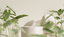 Terrazzo Podium, Cosmetic Display Product Stand With Blurred Nature Leaves On Brown Background. 3D Rendering