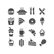 Fast Food Restaurant Or Diner Vector Icon Set. Donut, Burger, Cake, Soda Black Icons.