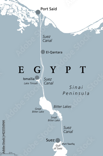 Fototapeta Suez Canal, gray political map. Artificial sea-level waterway in Egypt, connecting the Mediterranean Sea to the Red Sea, dividing Africa and Asia, extends from Port Said to Suez. Illustration. Vector. obraz