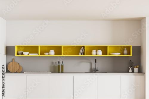 Obraz White kitchen set with shelves and kitchenware - fototapety do salonu