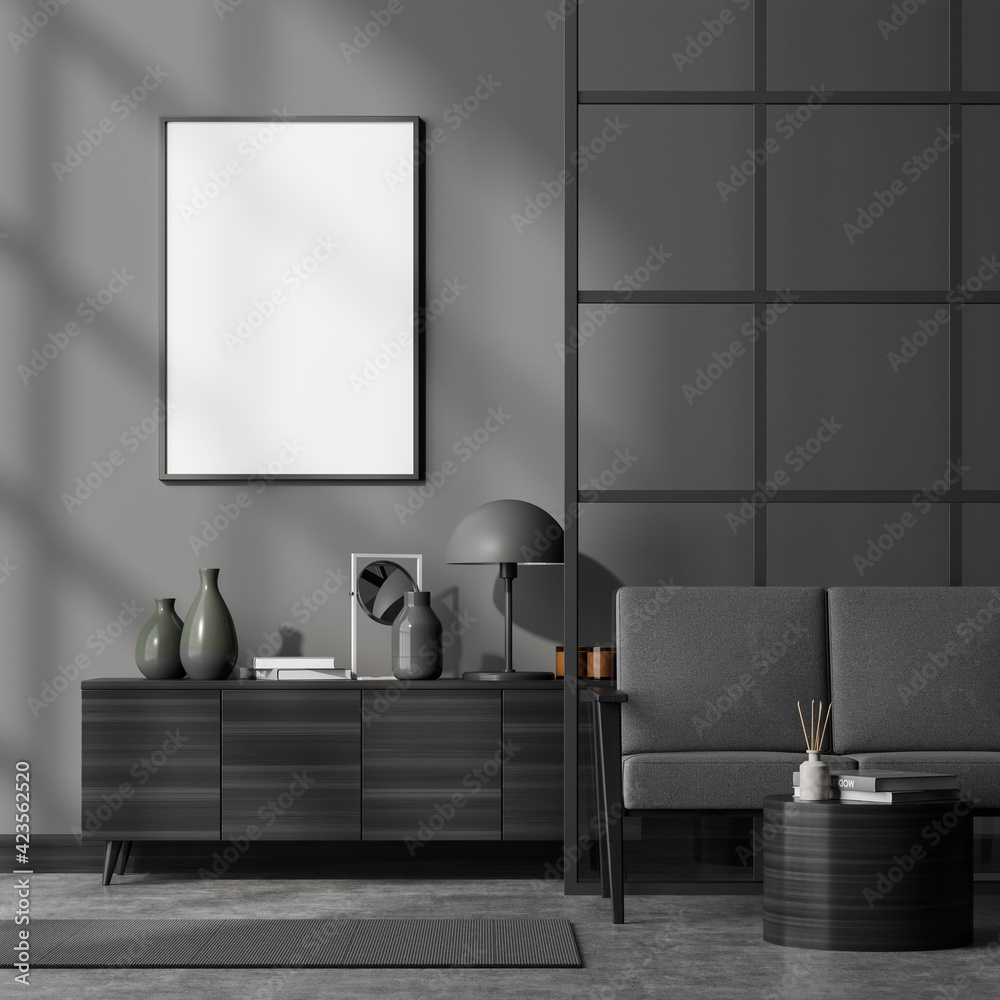 Fototapeta Modern living room interior with comfortable grey sofa