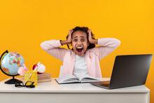Shocked Black Girl Grabbing Head Using Laptop