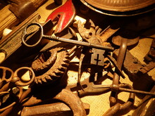 Old Metal Keys, Gears And Assorted Tools