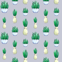 Watercolor Hand Drawn Seamless Pattern With Herbs In Vases And Jute Bags, Three Siyes.Light Lilac Background. For Easter Design, Kitchen Textile, Garden. Houseplants, Green Leaves, Fresh Spring Design