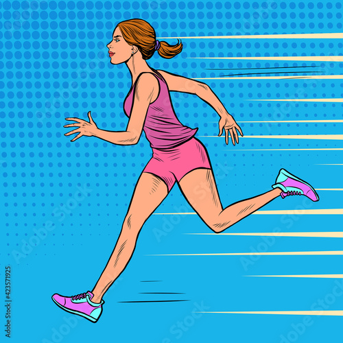 Fototapeta premium White woman athlete runs. Sports and health. Marathon run
