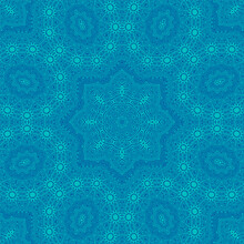 Turquoise Blue Delicate Openwork Geometric Floral Seamless Pattern