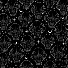 Mystical Ghostly Cat Skull Seamless Pattern