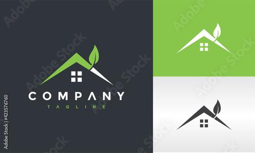Fototapeta green leaf house logo obraz