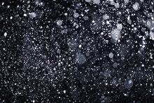 Real Falling Snow On Black Background For Blending Modes In Ps. Ver 04 - Many Snowflakes In Blur