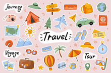 Travel Cute Stickers Template Set. Bundle Of Camping Journey, Sea Resort Tour, Voyage, Global Tourism, Baggage, Traveler Objects. Scrapbooking Elements. Vector Illustration In Flat Cartoon Design