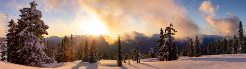 Photo Panoramic View of Canadian Nature Landscape on top of snow covered mountain and green trees during spring sunset