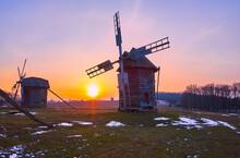The Sunset Behind The Windmills, Polissya Region Architecture, Pyrohiv Skansen, Kyiv, Ukraine