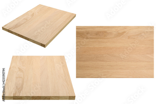 Obraz na plátně Solid oak laminated board, premium quality, set of 3 photos