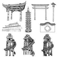 Chinese Pagoda. Asian Pole Lantern. Archway Gates Or Gate Arch. Temple Or Buddhist Monastery Architecture. Tree House For Jungles. Garden Entrance Set. Vector.