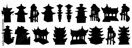Fotografia Set of Japanese pagodas, Chinese temple or Buddhist monastery and Tree house on stilts for living in jungles