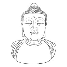 Buddha Meditation And Portrait. Drawing For Vesak Purnima Day, Traditional Buddhists Holiday For Hindus. The Festival Of Birth, Enlightenment, And Death Of Buddha. Vector.
