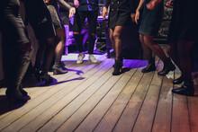 Dancing Feet On The Dance Floor On A Wedding Day.