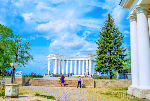 The small park with great colonnade in historical Odessa, Ukraine Wallpaper Mural