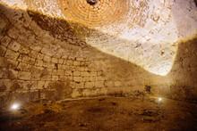 Abandoned Empty Old Underground Round Cellar Under Rural House