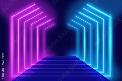 Obraz na plátně 3d render of a corridor with carpet and neon lights background illustration
