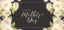 Mothers Day Holiday Banner. Spring Floral Vector Illustration. Greeting Realistic Cherry Flowers Card Template