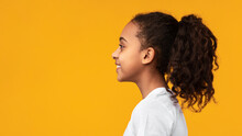 Side View Profile Portrait Of Cute African American Girl