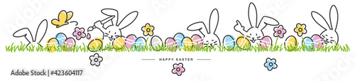 Fotografia Happy Easter egg hunt handwritten art line design of cute smiling Easter bunnies