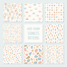 Set Of Abstract Contemporary Seamless Patterns. Modern Trendy Illustration. Perfect For Textile