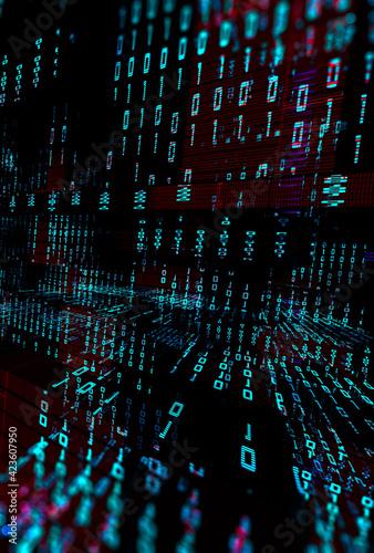 abstract 3d background,Binary Language.Matrix concept and binary code.Virtual data transfer.3d illustration - fototapety na wymiar