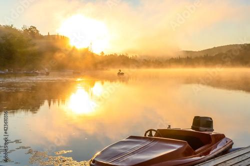 Canvas Print cygne gonflable qui flotte sur un lac super calme lors d'un lever de soleil enfl