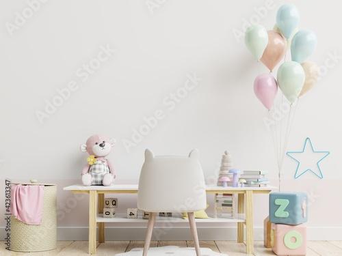 Fototapeta Mock up wall in the children's living room in white wall background. obraz