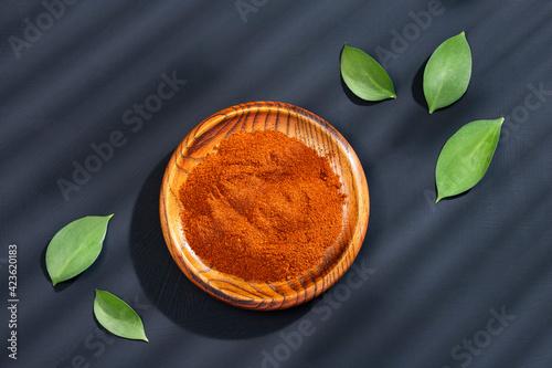 Capsicum annuum - Organic red paprika powder Fototapet