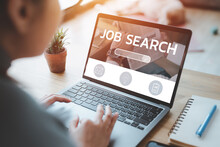 Woman Using Laptop For Job Search Concept, Find Your Career, Woman Looking At Online Website