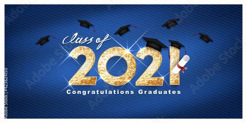 Billede på lærred Vector text for graduation gold design, congratulation event, T-shirt, party, high school or college graduate