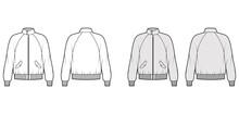 Zip-up Harrington Bomber Jacket Technical Fashion Illustration With Rib Cuffs, Waistband, Oversized, Raglan Sleeves, Flap Pockets. Flat Coat Template Front, Back White Grey Color. Women Men CAD Mockup