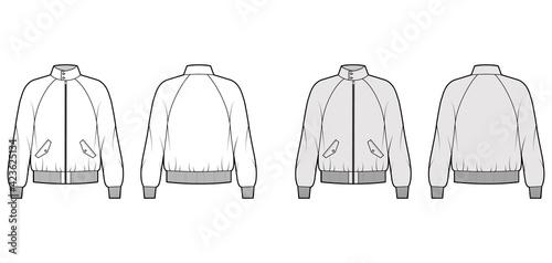 Zip-up Harrington Bomber jacket technical fashion illustration with Rib cuffs, waistband, oversized, raglan sleeves, flap pockets Fototapete