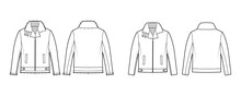 Set Of Zip-up Bombers Leather Jacket Technical Fashion Illustration With Tabs, Oversized, Thick Collar, Long Sleeves, Welt Pockets. Flat Coat Template Front, Back White Color. Women Men Unisex Top CAD