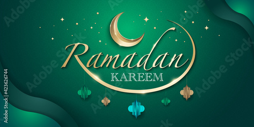 Foto Hari Raya greeting banner template with contemporary islamic graphic elements and decorative crescent moon