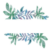 Green Leaves And Branches With Red Flowers. Watercolor Tiny Floral Elements, Stripe Banner, Hand Drawn Illustration.