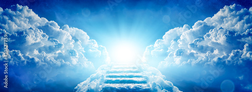 Stairway Through Clouds Leading To Heavenly Light - fototapety na wymiar